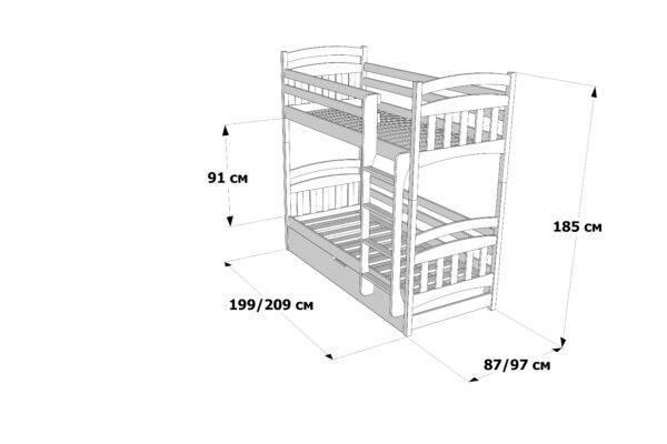 Двоповерхове ліжко Бембі з підйомним механізмом схема та розміри