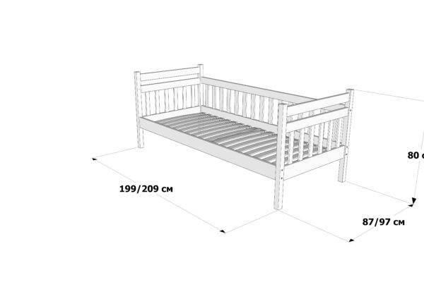 Одноярусне ліжко Моллі схема та розміри