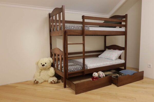 Двоповерхове дитяче ліжко Сонька з ящиками фото