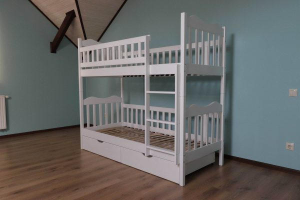 Біле дитяче ліжко двоповерхове Рукавичка з шухлядами