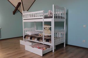 Біле двоярусне ліжко з дерева з ящиками Рукавичка замовити