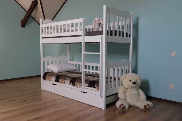 Двоярусне ліжко Рукавичка для дітей з ящиками для іграшок купити
