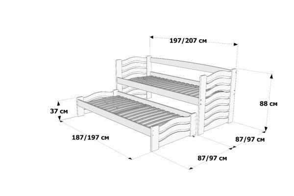 Ліжко з додатковим спальним місцем Мальва схема та розміри