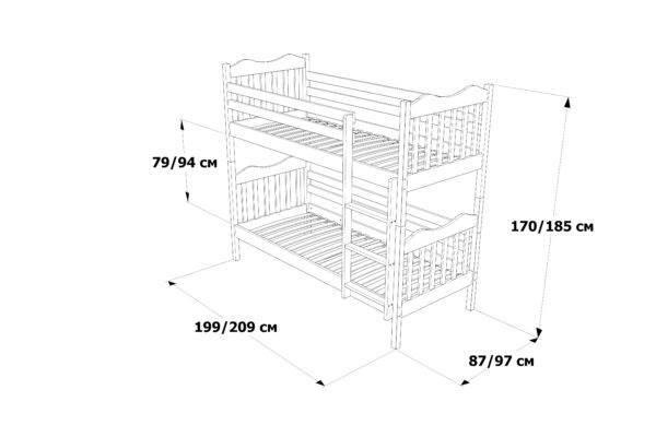 Двоярусне ліжко Мауглі схема та розміри