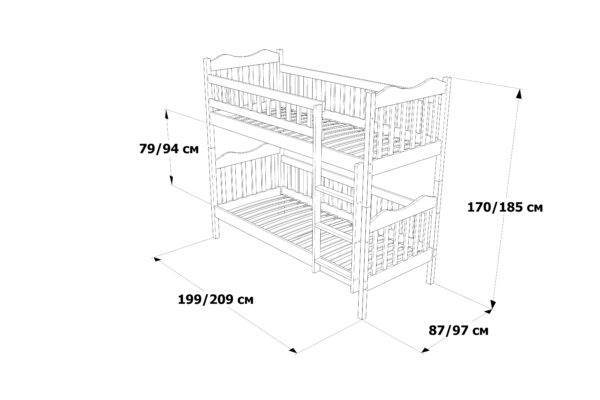 Двоярусне Ліжко Рукавичка схема та розміри