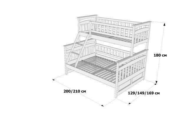 Схема та розміри двоповерхового ліжка Русалонька