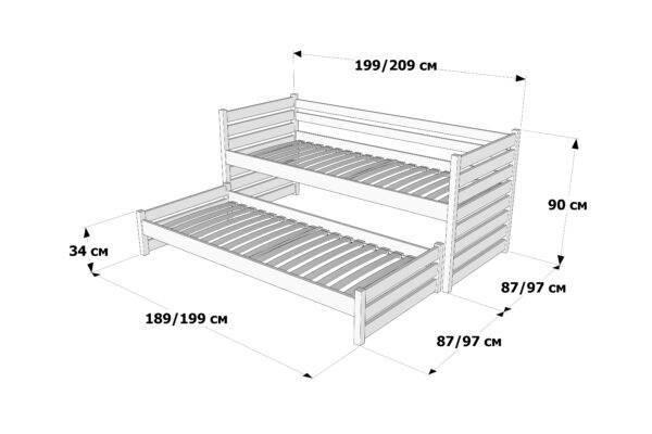 Ліжко з додатковим спальним місцем Сімба схема та розміри