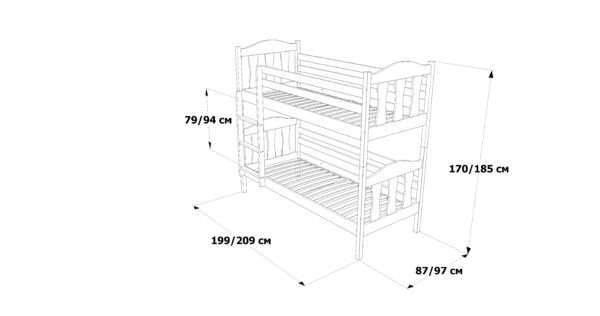 Розміри двоповерхового ліжка Сонька фабрика Дрімка