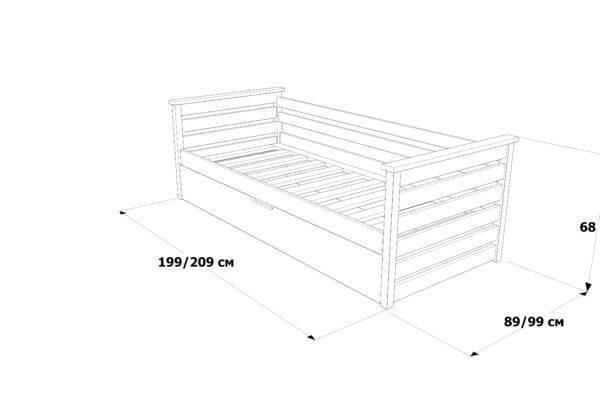 Одноярусне ліжко Телесик з підйомним механізмом схема та фото