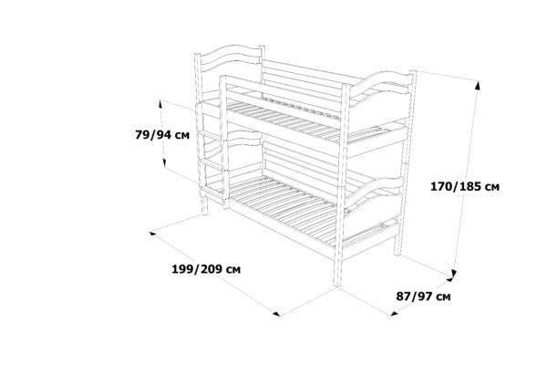 Двоярусне ліжко Вінні Пух схема та розміри