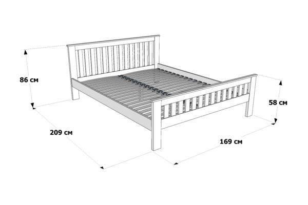 Двоспальне ліжко Жасмін схема та розміри