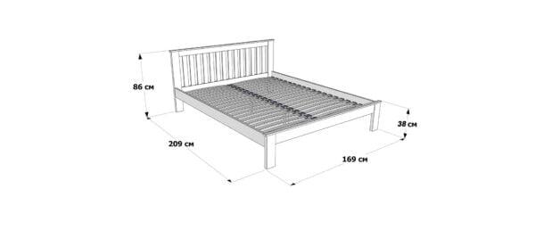 Розміри двоспального ліжка Жасмін низьке узніжжя