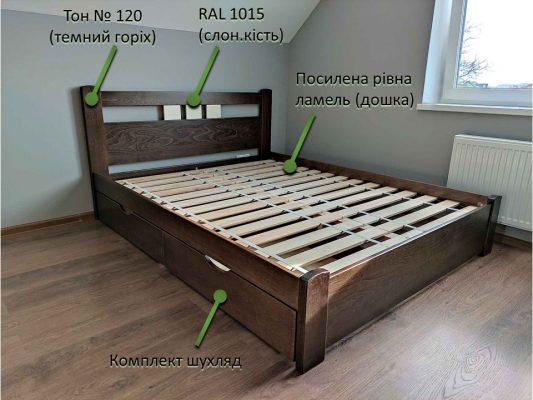 Двоспальне ліжко Геракл Колір №120 (темний горіх)